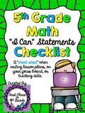 """5th Grade Common Core Math """"I Can"""" Checklist (Ink Saver)"""