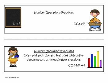 "5th Grade Common Core Math ""I Can Statements"""