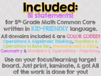 "5th Grade Common Core Math ""I Can"" Statements (Chevron)"