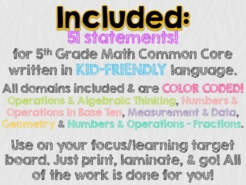 "5th Grade Common Core Math ""I Can"" Statements (Zebra)"