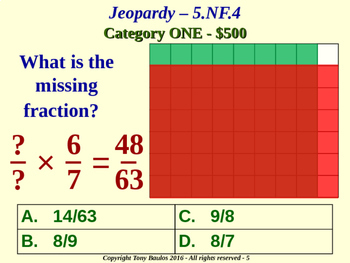 5th Grade Common Core Math Jeopardy Game - 5 NF.4 Multiply Fractions 5.NF.4