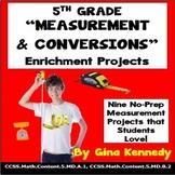 5th Grade Measurement Conversions Enrichment  Projects, Plus Vocabulary