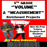 5th Grade Volume Math Projects, Plus Vocabulary