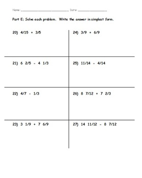 5th Grade Common Core Math - NF.1 and NF.2