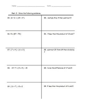 5th Grade Common Core Math - O.A.1 and O.A.2