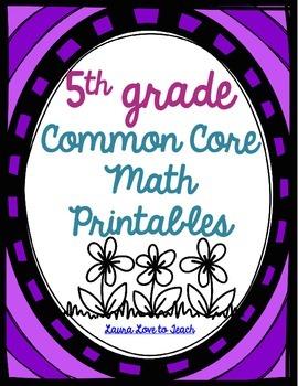 5th Grade Common Core Math Pack