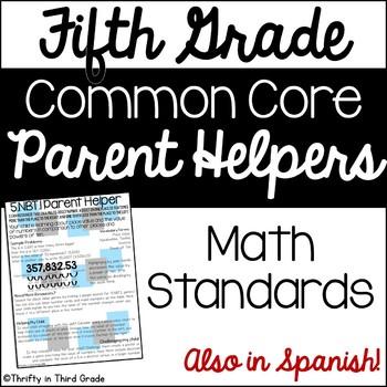 5th Grade Common Core Math Parent Helper -also in Spanish