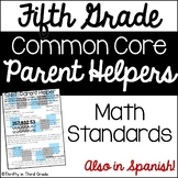 5th Grade Common Core Math Parent Helper -also in Spanish
