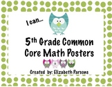 5th Grade Common Core Math Posters - Owl Theme I Can Statements