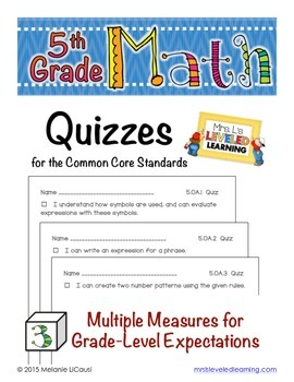 5th Grade Common Core Math Quizzes - All Standards