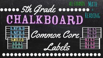 5th Grade Common Core Math/Reading Chalkboard Labels (Sterilite Containers)