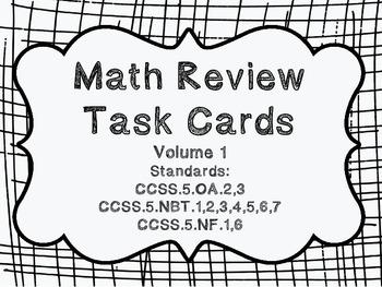 5th Grade Common Core Math Review Bundle (4 task card sets)