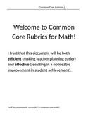 5th Grade Common Core Math Rubric