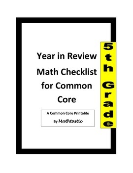 5th Grade Common Core Math Standards Checklist