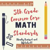 5th Grade Common Core Math Standards Organizer
