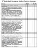 5th Grade Common Core Math Student Tracking Data Document