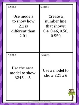5th Grade Common Core Math Task Cards