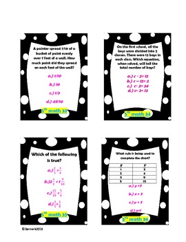 5th Grade Math Test Prep/ review cards- multiple choice!