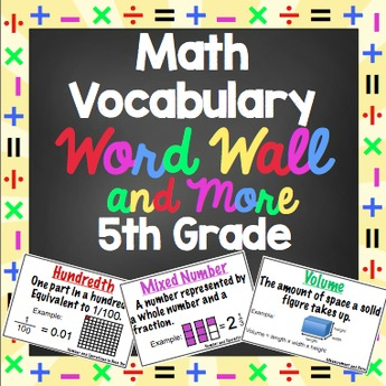 Math Word Wall - 5th Grade by Math Mojo | Teachers Pay Teachers