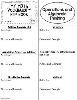 5th Grade Common Core Math Vocabulary Flip Book