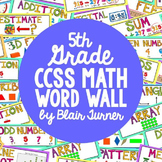 5th Grade Common Core Math Vocabulary - WORD WALL