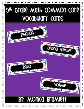 5th Grade Common Core Math Vocabulary / Word Wall Cards