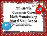 5th Grade Common Core Math Vocabulary Word Wall Cards