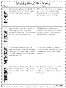 5th Grade Weekly Word Problems {Set 1: 4 Weeks}
