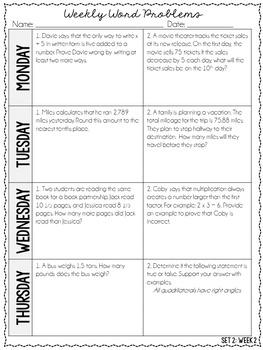 5th Grade Weekly Word Problems {Set 2: 4 Weeks}