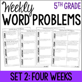 5th Grade Weekly Word Problems {Set 2: 4 Weeks}