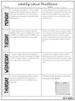5th Grade Weekly Word Problems {Set 3: 4 Weeks}