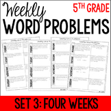 5th Grade Weekly Word Problems {Set 3: 4 Weeks}
