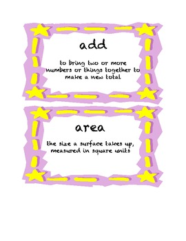 5th Grade Common Core Math Word Wall Cards