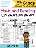 5th Grade Common Core Math and Reading Student Data Tracking Sheets