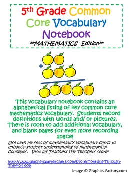 5th Grade Common Core Mathematics Vocabulary Journal