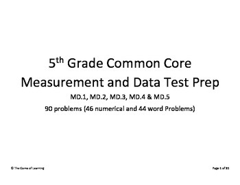 5th Grade CC Measurement and Data Test Prep - MD.1, MD.2, MD.3, MD.4 & MD.5