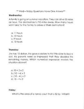 5th Grade Common Core Multiple Answer Bell Work