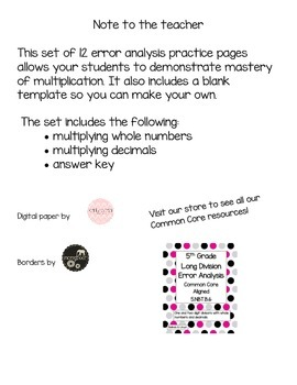 5th Grade Common Core Multiplication Error Analysis