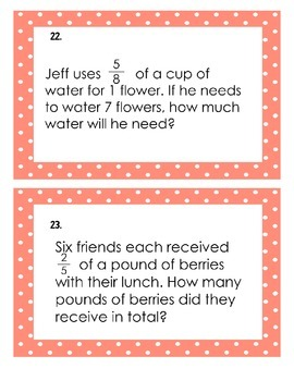 5th Grade Common Core Multiplying Fractions and Whole Numbers Task Cards