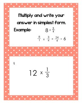 5th Grade Common Core Multiplying Fractions and Whole Numb