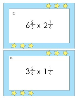 5th Grade Common Core Multiplying Mixed Numbers Task Cards