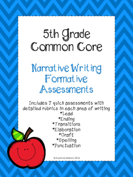 5th Grade Common Core Narrative Writing Formative Assessment Pack