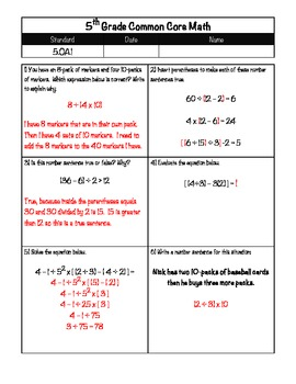5th Grade Common Core Operations and Algebraic Thinking 5.OA