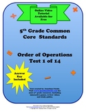 5th Grade Common Core Order of Operations Test 1