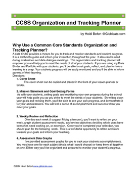 5th Grade Common Core Organization and Tracking Planner
