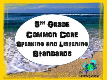 5th Grade Common Core Posters Speaking and Listening Standards