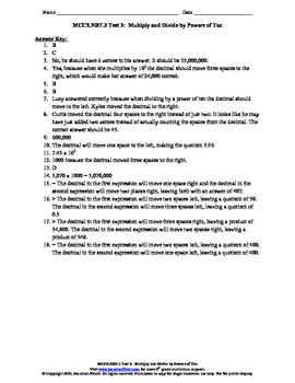 5th Grade Common Core Powers of Ten Test