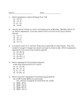5th Grade Common Core Practice Test Operations and Algebraic Thinking