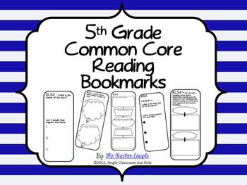 5th Grade Common Core Reading Bookmarks By The Teacher