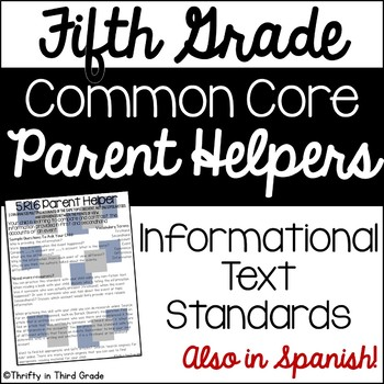 5th Grade Common Core Reading Informational Text Parent Helper -also in Spanish